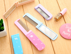 Wholesale straight hair close tine metal comb with fold mirror1901002