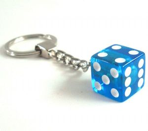 25mm Clear Acrylic Dice Keychain